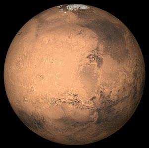 <p>Mars, der Rote Planet, mit vereister Polkappe</p>