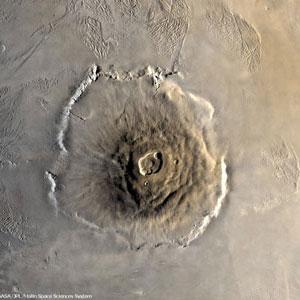 <p>Der erloschene Riesenvulkan Olympus Mons</p>